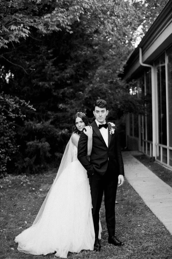 black and white wedding couple portrait by Texas wedding photographer