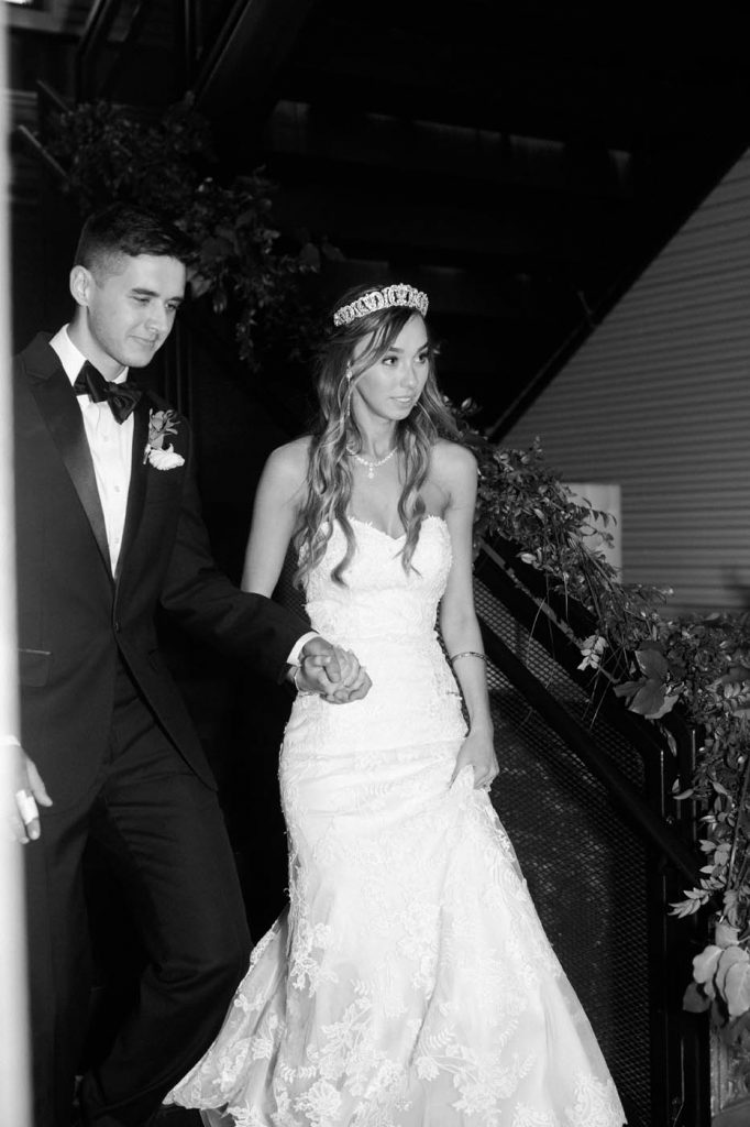 the bride and groom making their grand entrance