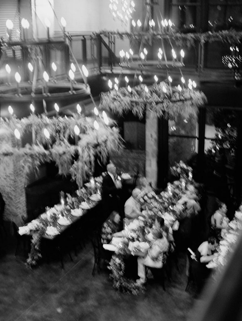 an impressionist style photo of the wedding reception