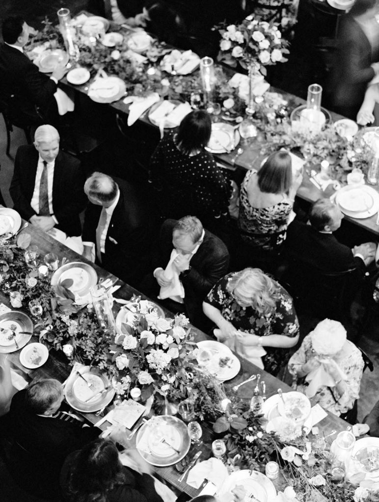 overhead photo of guests during dinner