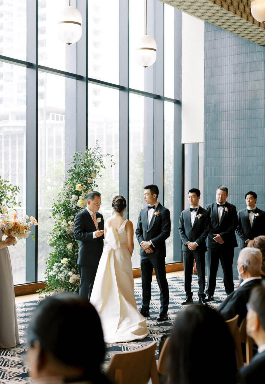 Side angle of wedding ceremony