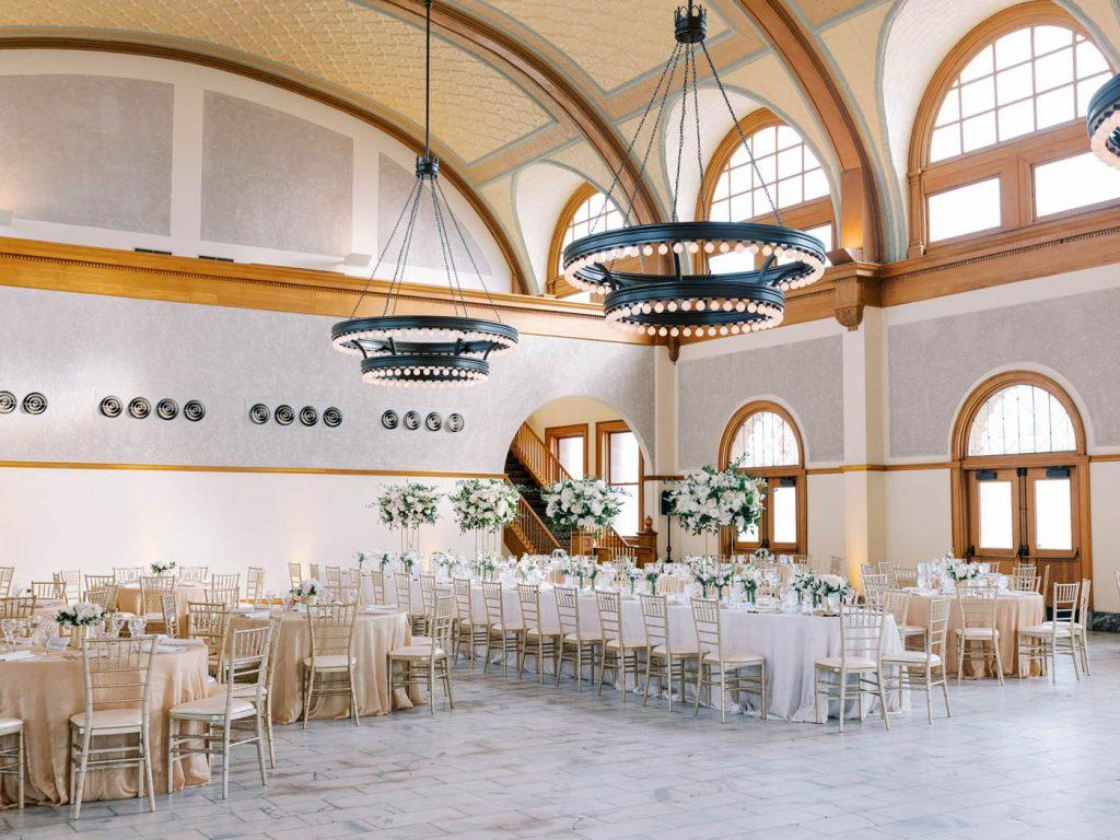 The reception room fully set at Ashton Depot