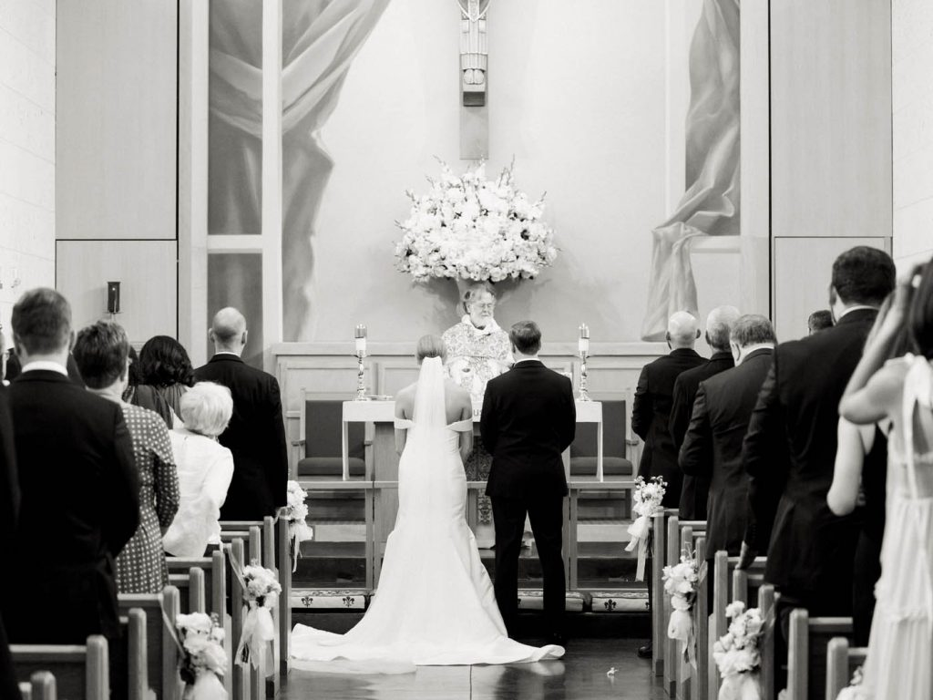 black and white ceremony at All Saints Chapel