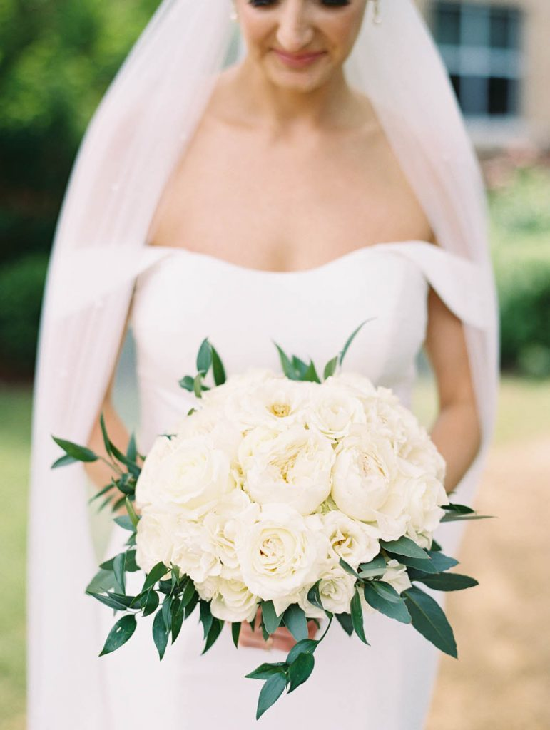 the classic bridal bouquet with white roses