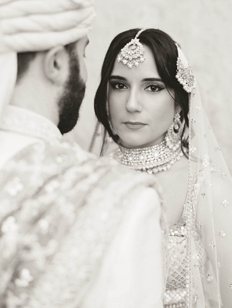 A dramatic portrait of an Indian bride