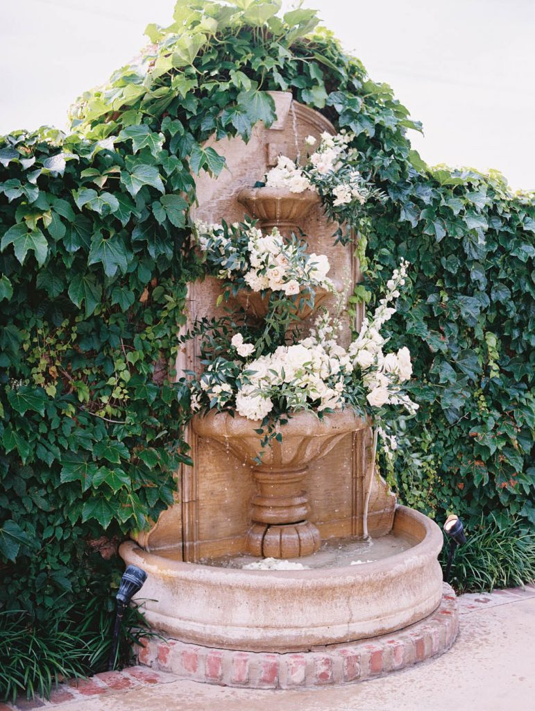 the fountain at Ashton Depot filled with flowers