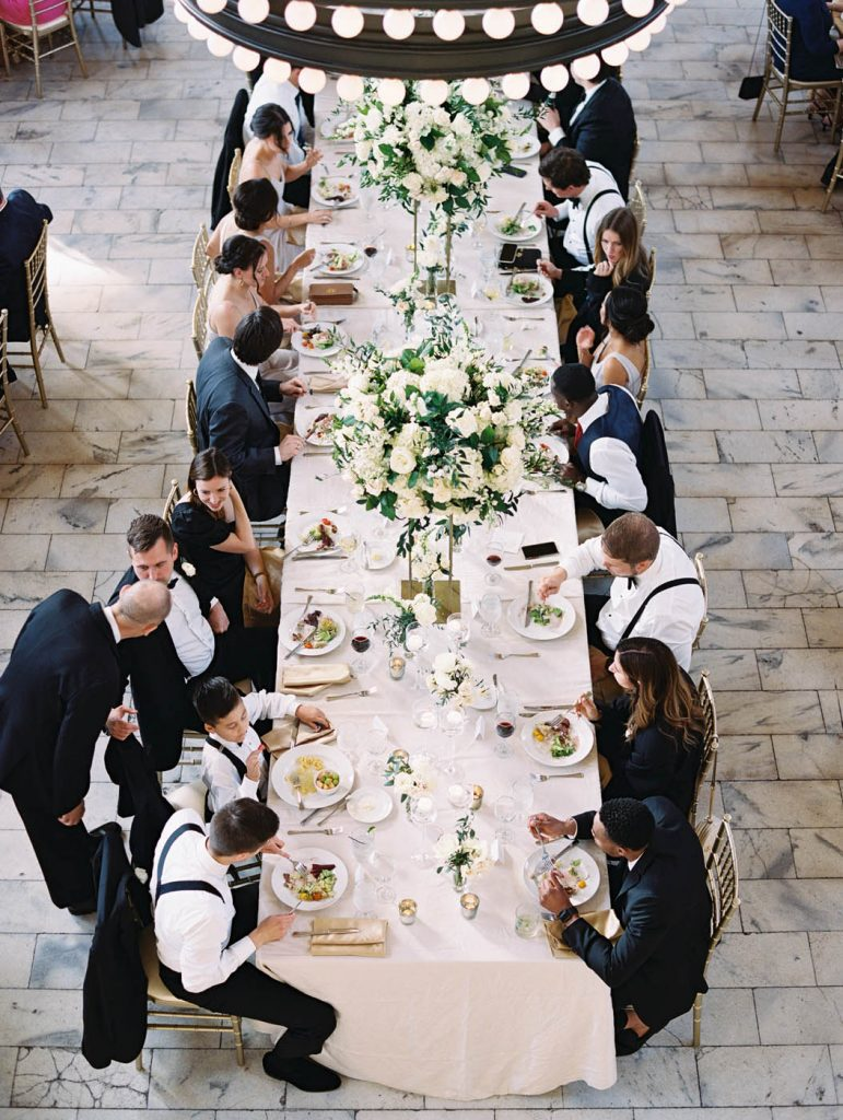 Overhead photo of guests enjoying dinner