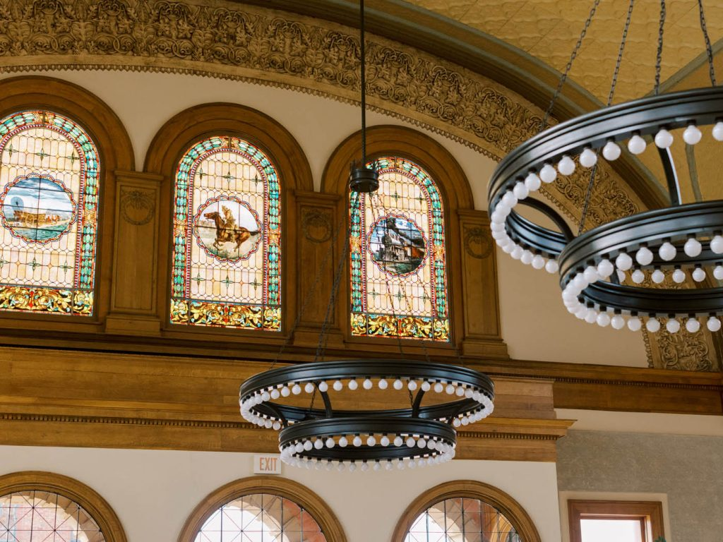 Stained glass windows at the Ashton Depot