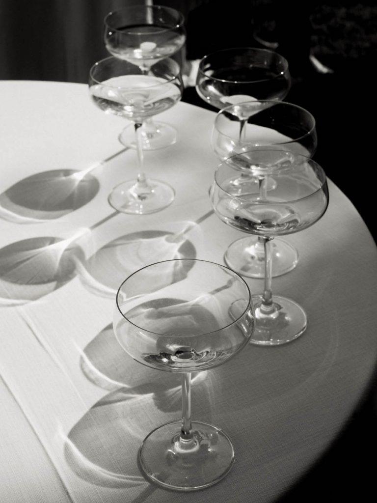 black and white wine glasses
